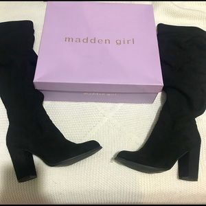 Madden girl over the knee black boots